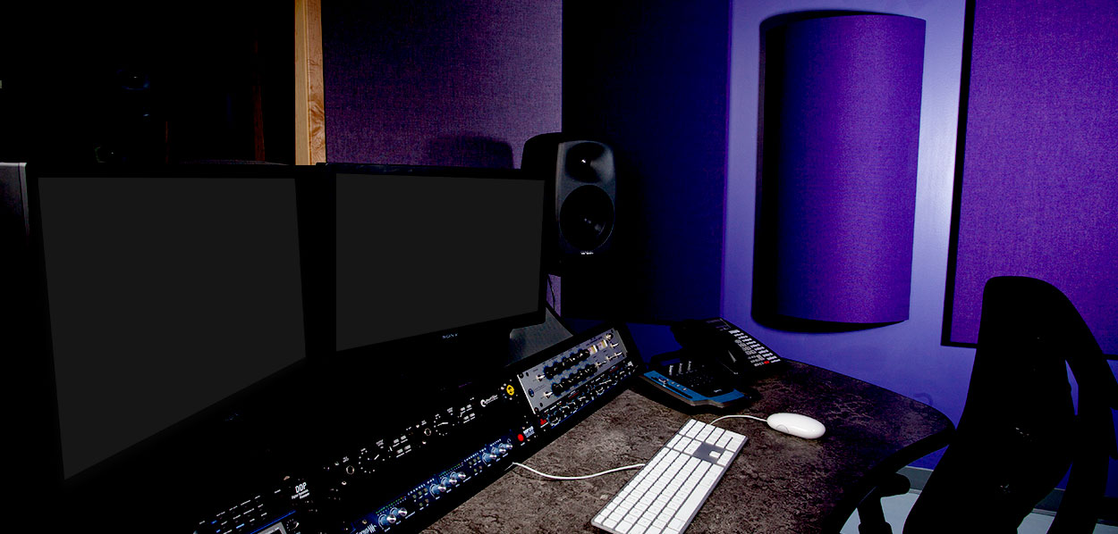 HDMG Audio Post Room with purple Curve Diffusors